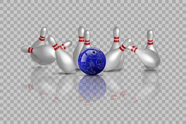 Bowling strike with mirror reflection isolated on transparent background.