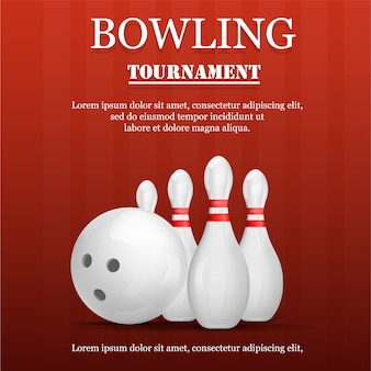 Bowling tournament concept , realistic style