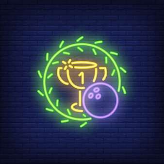 Bowling tournament. Neon sign with ball, cup and green wreath. Night bright advertisement