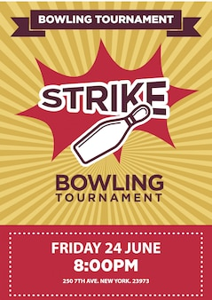 Bowling tournament poster template.