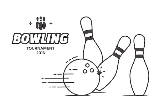 볼링 대회 포스터. 벡터 선형 스타일 그림 볼링 공 및 핀입니다.