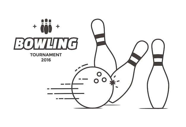 Bowling tournament poster. vector linear style illustration bowling ball and pins.
