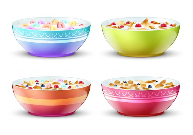 Bowls of breakfast with different milk cereal snacks.  set