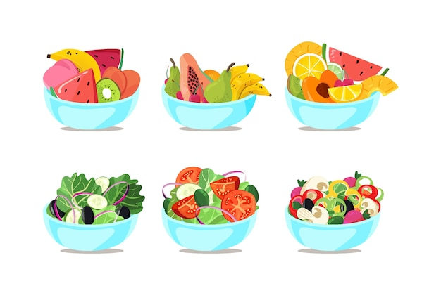 Bowls with different fruits and salads