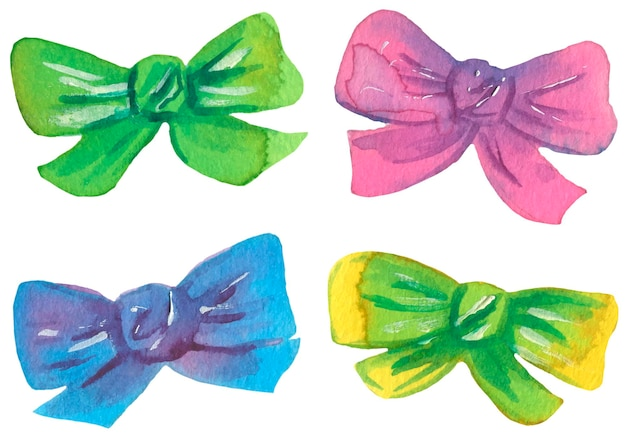 Bows collection. watercolor illustration. vector isolated.