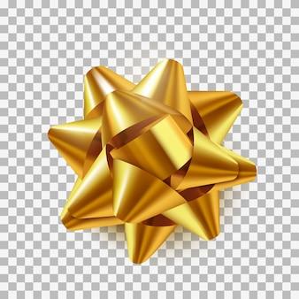 Луки золото реалистичный дизайн. декоративные подарочные банты с лентами, изолированные на прозрачном фоне. иллюстрация
