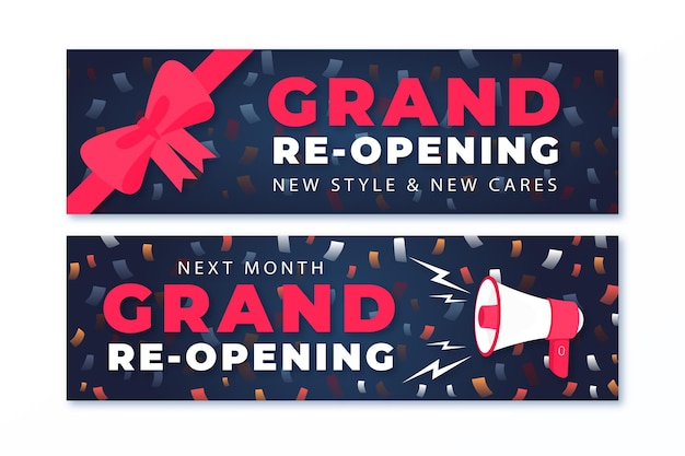 Bows and megaphone grand re-opening banner