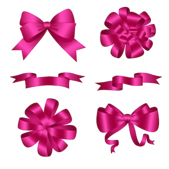 Bows and ribbons pink set