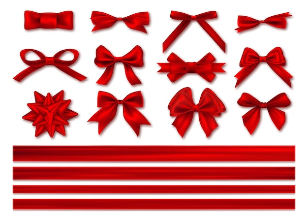 Банты с набором лент, декоративный и праздничный дизайн.