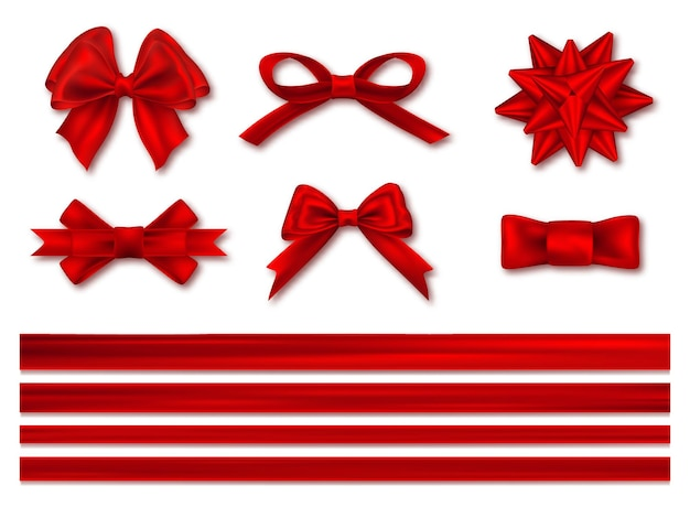 Bows with ribbons set, decorative and festive. realistic luxury festive satin tape