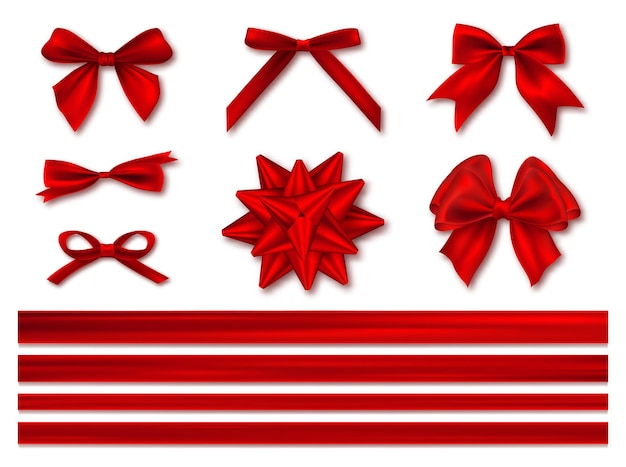 Bows with ribbons set, decorative and festive.