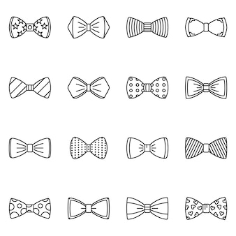 Bowtie icon set. outline set of bowtie vector icons
