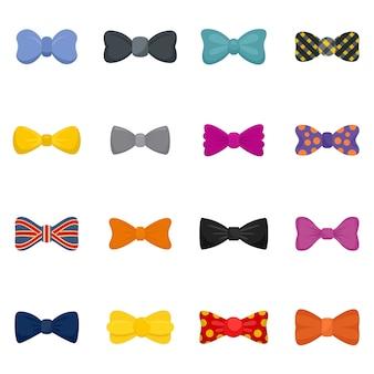 Bowtie ribbon man tuxedo icons set