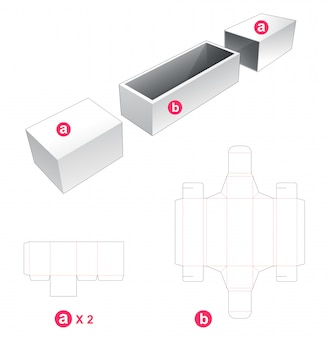 Box and 2 cover die cut template