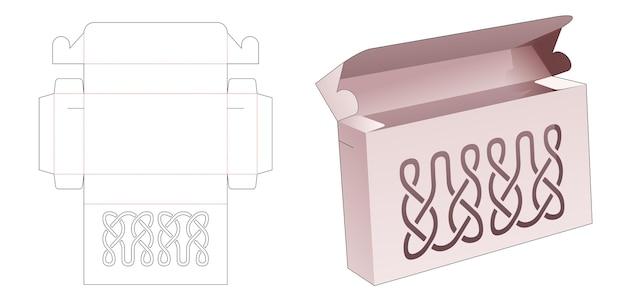 Коробка и 2 точки фиксации с шаблоном для высечки по трафарету