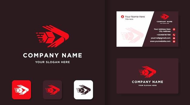 상자와 화살표 디지털 로고 디자인 및 명함 디자인
