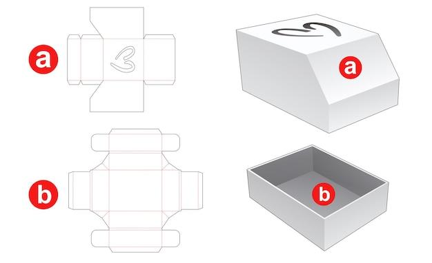 심장 창 다이 컷 템플릿이있는 상자 및 모따기 뚜껑