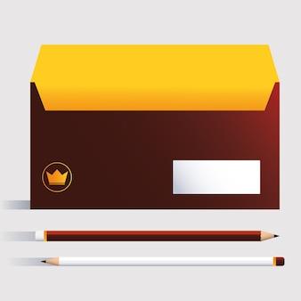 상자와 연필, 흰색 배경 그림에 기업의 정체성 템플릿