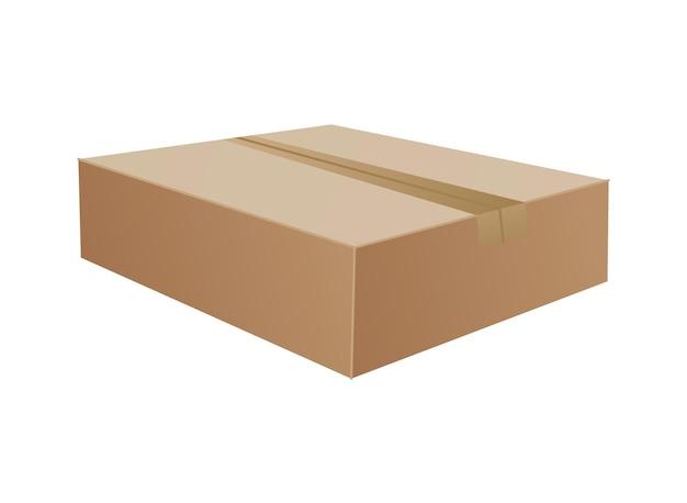 Коробка. макет картонной коробки. почтовый контейнер. коричневая переработка картонной коробки доставки или упаковки почтовых посылок, реалистичная иллюстрация на белом фоне.
