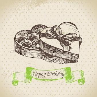 Box of chocolate. happy birthday hand drawn  illustration