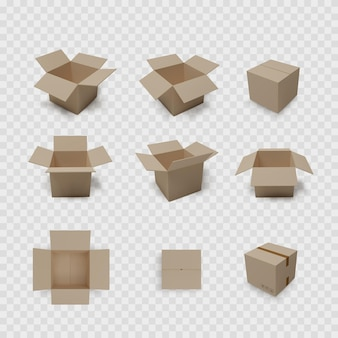 Box collection on transparent background. carton open and closed container. brown packaging set.