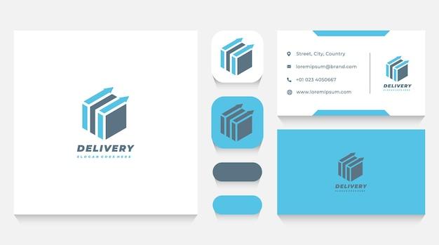 Шаблон логотипа доставки коробки и визитная карточка