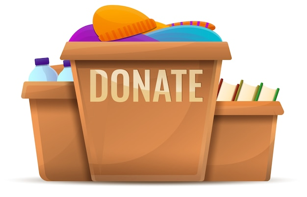 Box donations concept, cartoon style