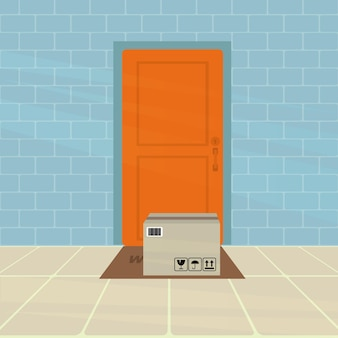 Box under door contactless delivery concept vector illustration