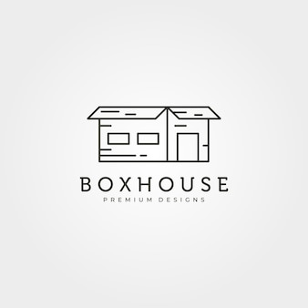 Box house creative logo vector illustration design, line art design