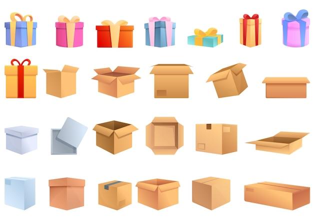 ボックスのアイコンを設定します。ボックスのベクトルのアイコンの漫画セット