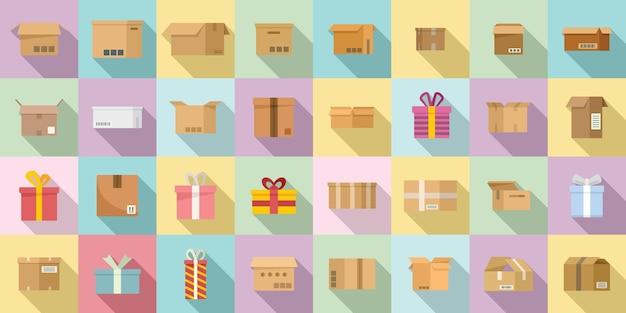Набор иконок коробки плоский вектор. подарок подарок