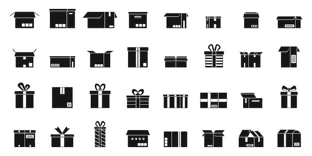 Набор иконок коробки простой вектор. подарок настоящий. близкий сюрприз
