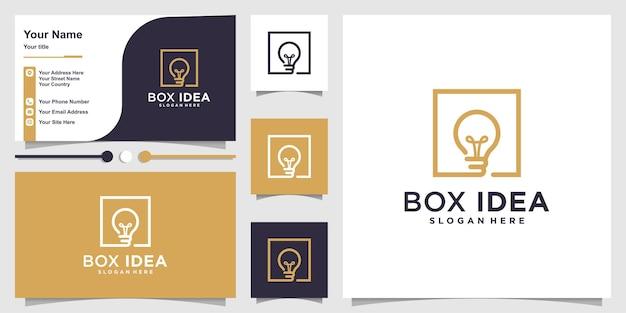 Box idea logo with modern line art concept and business card design premium vector