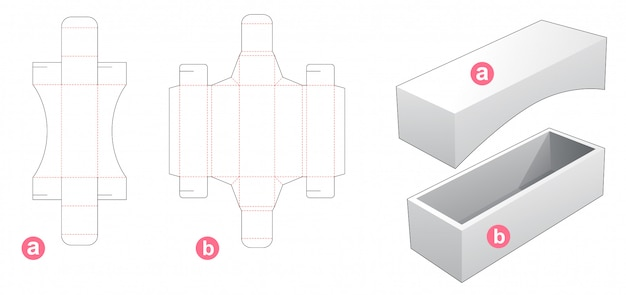 Box and lid die cut template