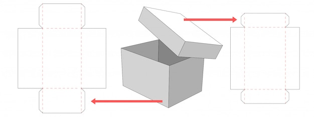 Box and lid packaging die cut template design