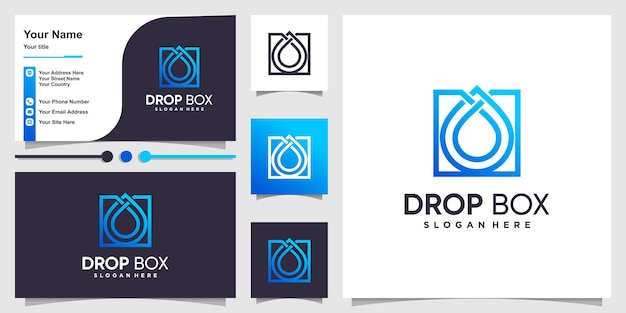 Box logo with gradient drop outline style and business card design template premium vector