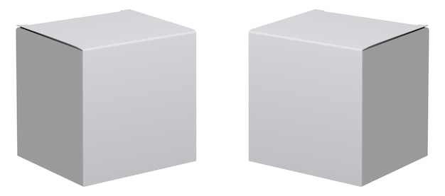 Box mockup. 3d white package. carton cardboard set