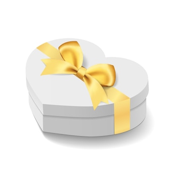 Box mockup in love heart shape. gift for birthday or wedding present