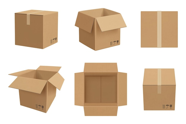 Макет коробки. открытый и закрытый картонный пакет вектор реалистичный шаблон. иллюстрация реалистичный картон и упаковка пустая