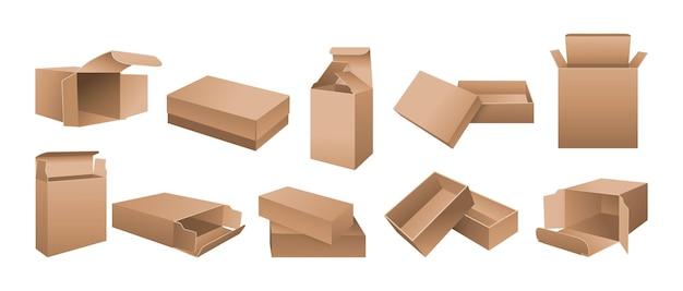 ボックスモックアップリアルな段ボールセット開いた、閉じた紙のパッケージ、デザインまたはブランディングテンプレートリアルな製品のパッケージボックス