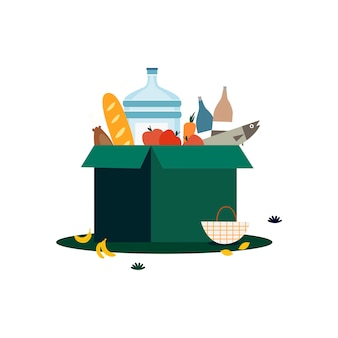 Box of groceries isolated in white illustration