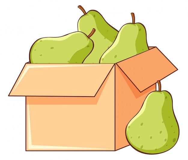 白い背景の上の梨の箱