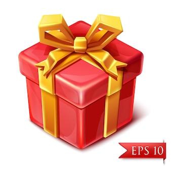 かわいい漫画のスタイルでゴールデンリボンとプレゼントの箱。