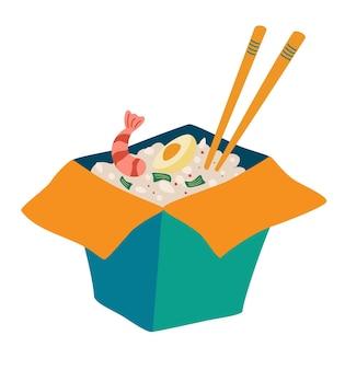 새우와 쌀이 든 냄비 상자. 새우 미역과 계란을 곁들인 맛있는 밥. 상자에 패스트 푸드입니다.