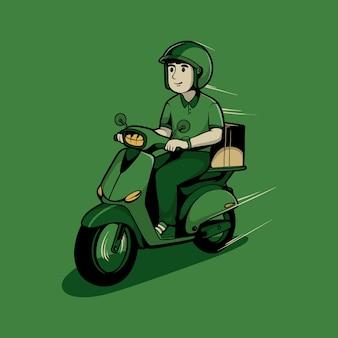 Коробка пакет доставки человек, езда на мотоциклах иллюстрации