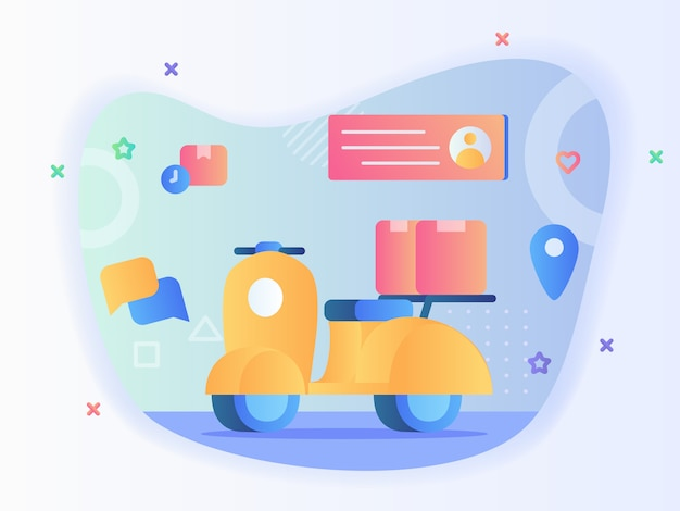 Box package on scooter background profile receiver address pointer location concept delivery motorcycle with flat style vector design.