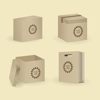 Box and package set. vector illustration