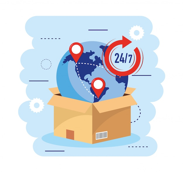 Box package with global map and transport service