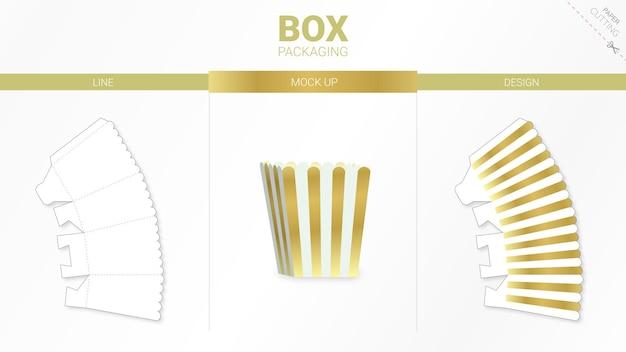 Коробочная упаковка и шаблон для высечки макета premium векторы