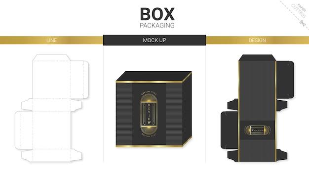 ボックスパッケージとモックアップダイカットテンプレートブラックとゴールド